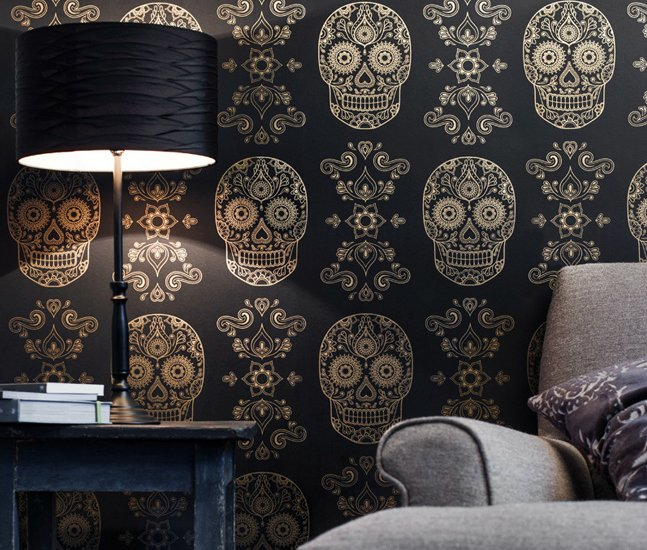 Gold Sugar Skull Wallpaper Cool Material 647x550