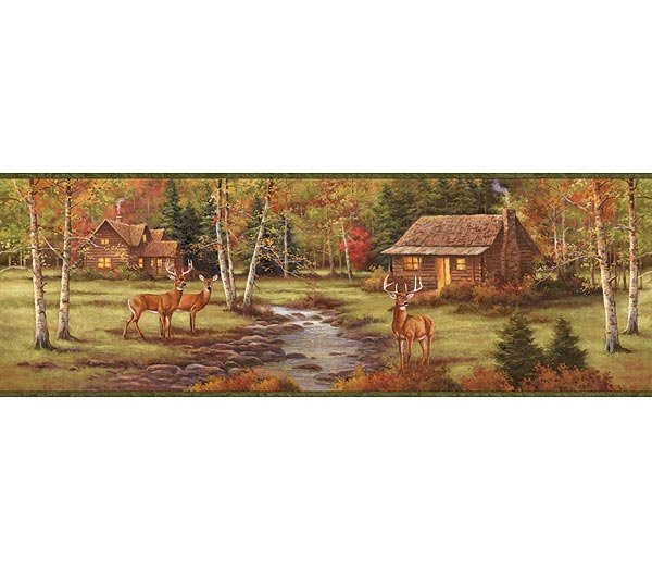Deer Creek Lodge Forest Wallpaper Wall Border 600x525