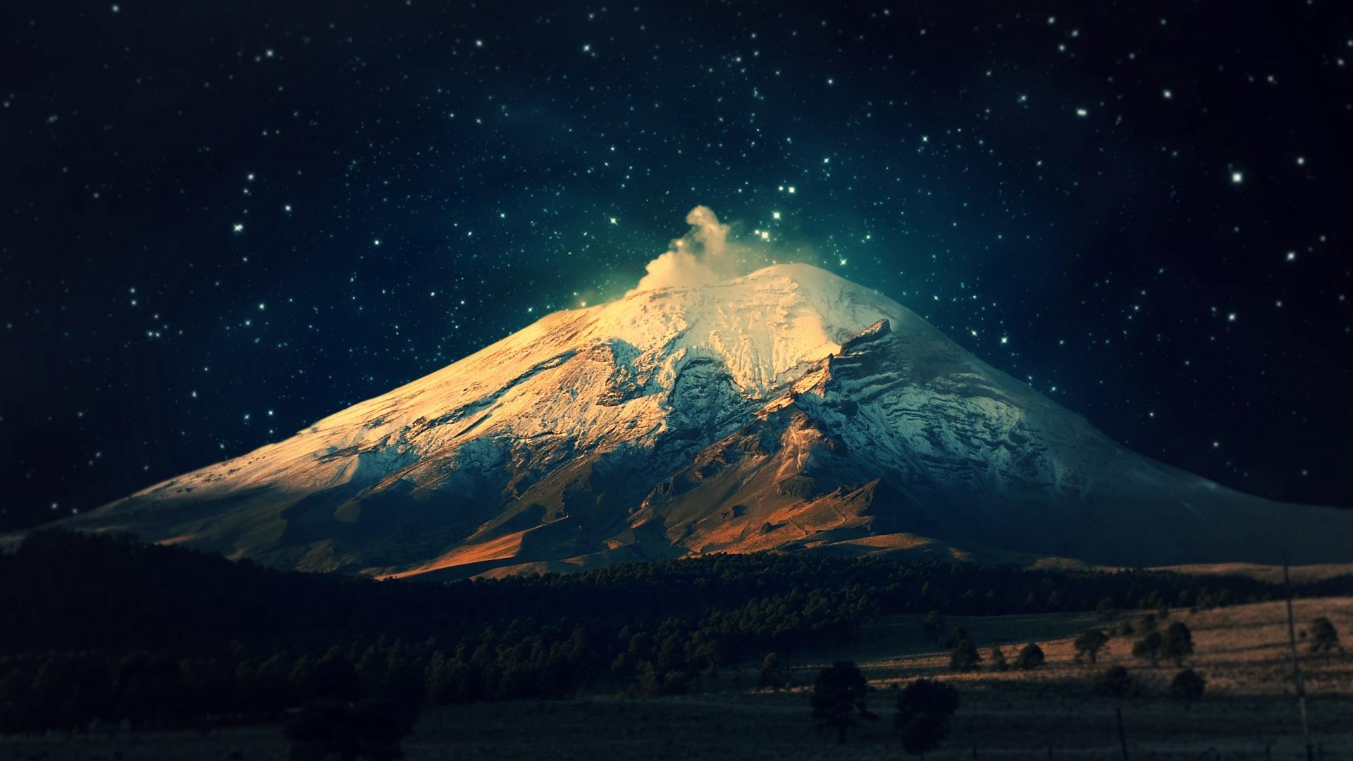 wallpapers sky starry snowy mountain mac 1920x1080 1920x1080