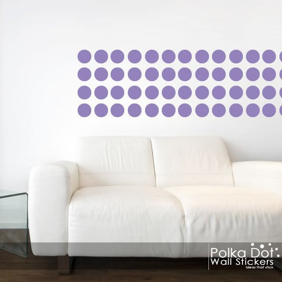 Peel and Stick Lavender Polka Dot Wall Decals Long Life Apartment 556x556