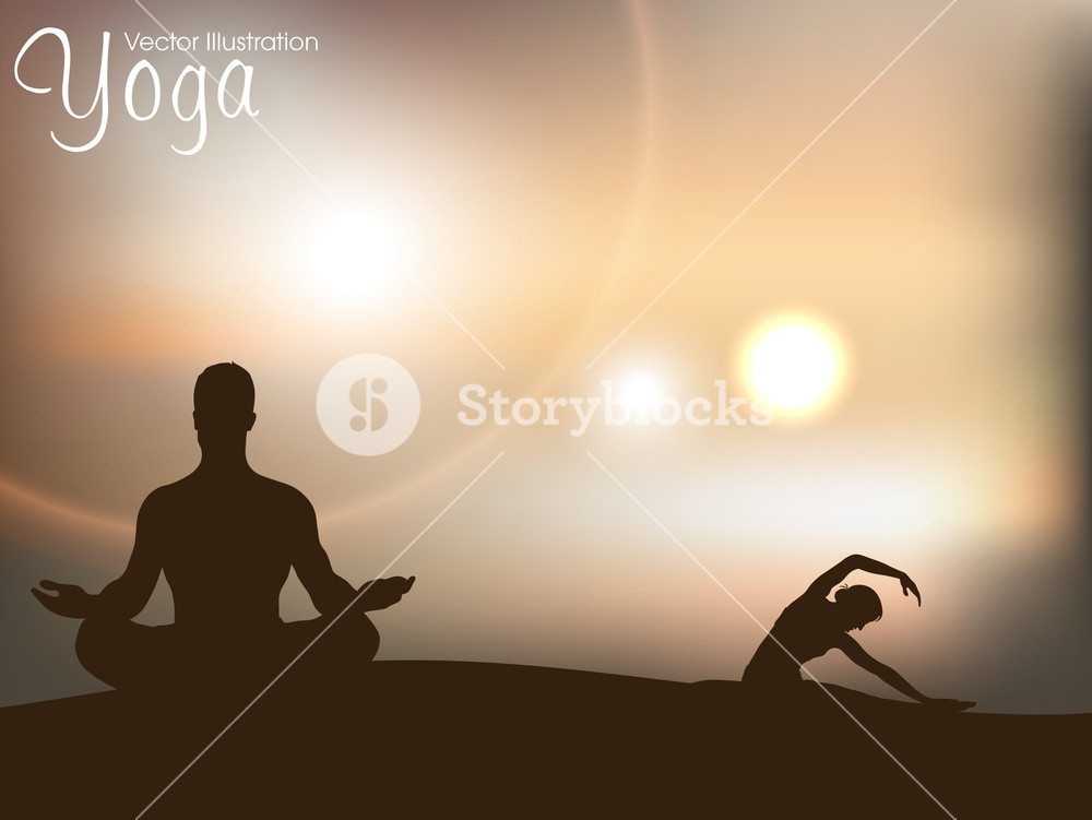 Human Silhouette In Yoga Posture On Nature Background Royalty 1000x751