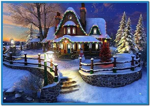 White christmas 3d screensaver and animated wallpaper 589x417