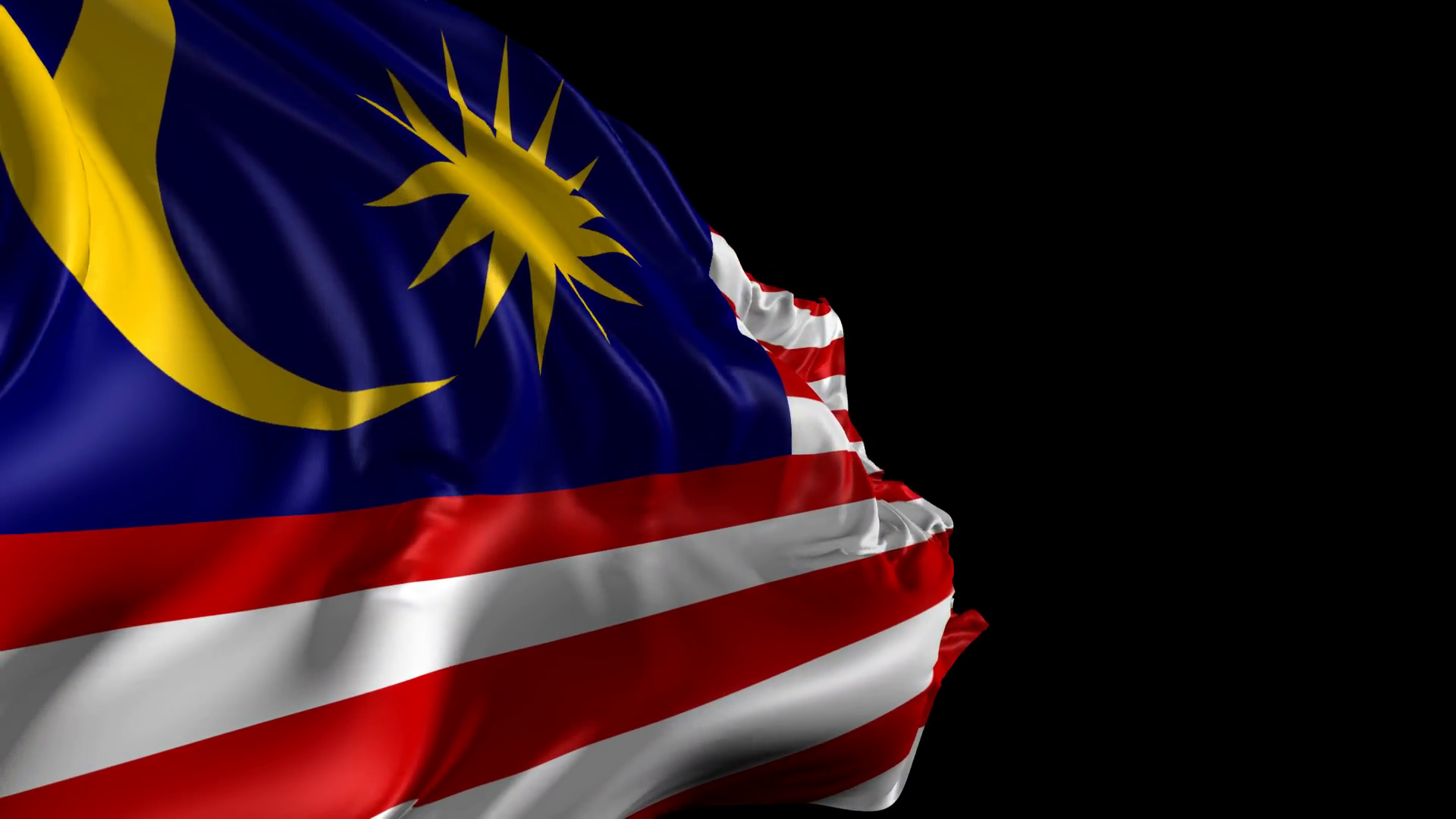 Flag of Malaysia  Beautiful 3d animation of the Malaysia flag with 1920x1080
