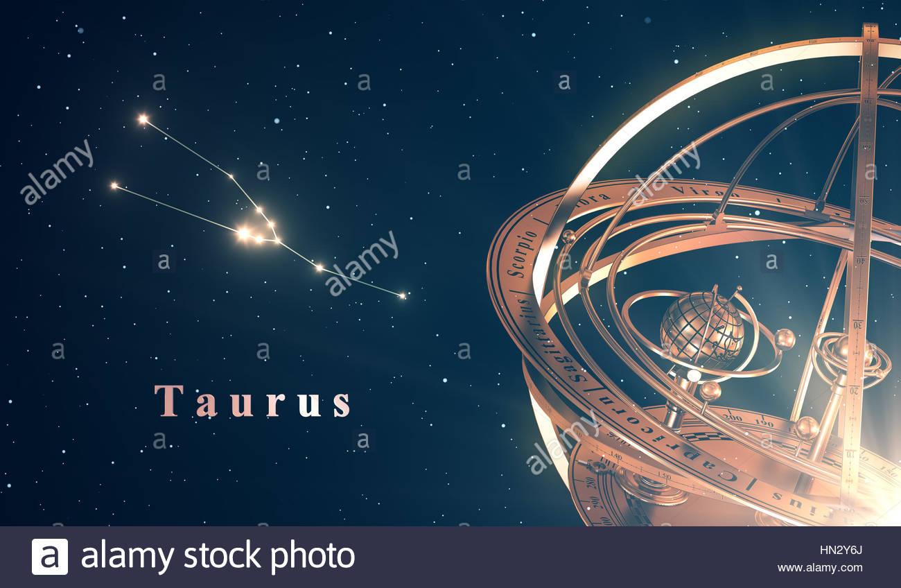 Zodiac Constellation Taurus And Armillary Sphere Over Blue 1300x848