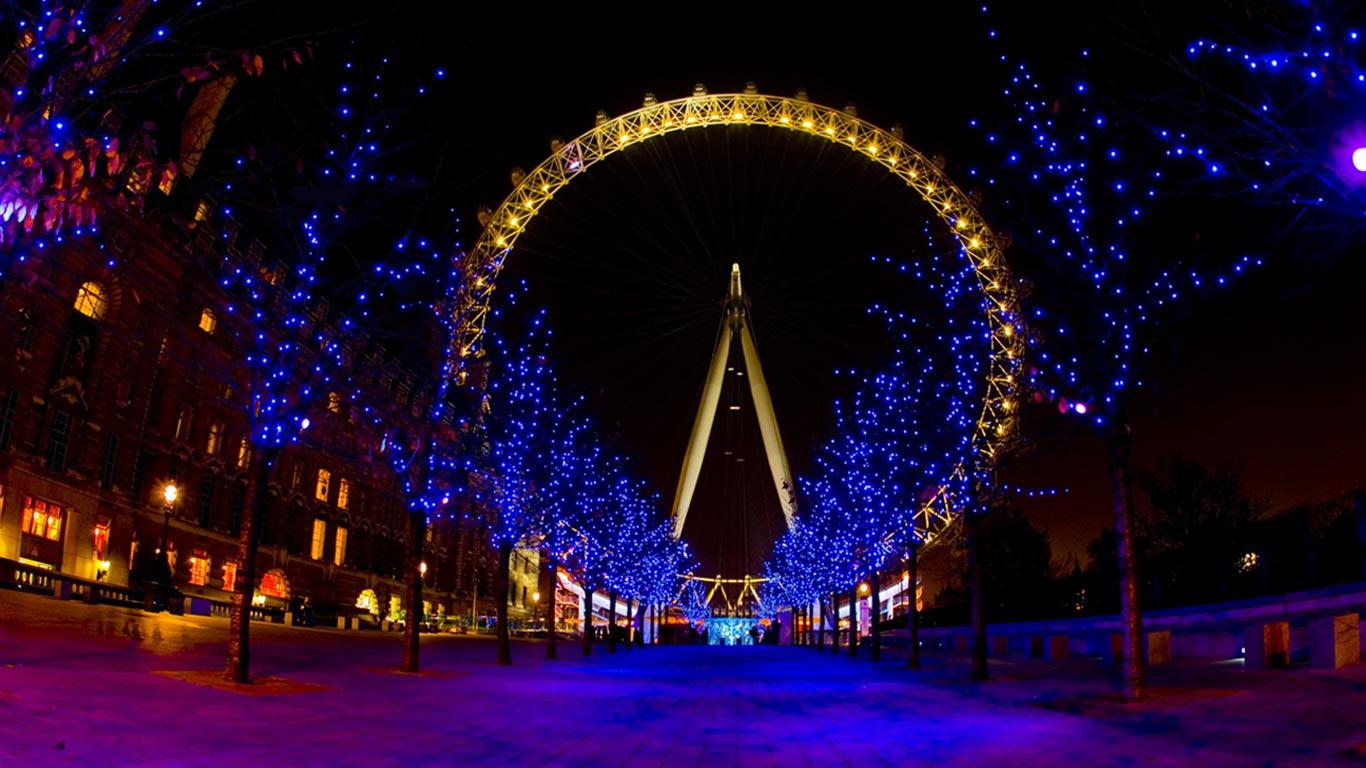 Bing Images   London Eye Xmas   London Eye London England 1366x768