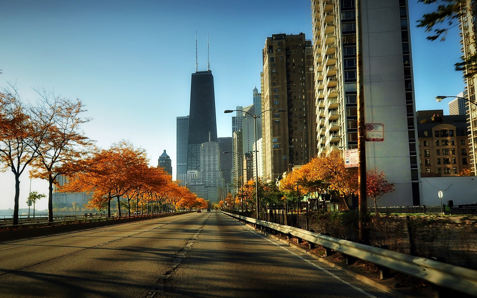 Wallpaper usa illinois chicago city embankment road 1920x1200