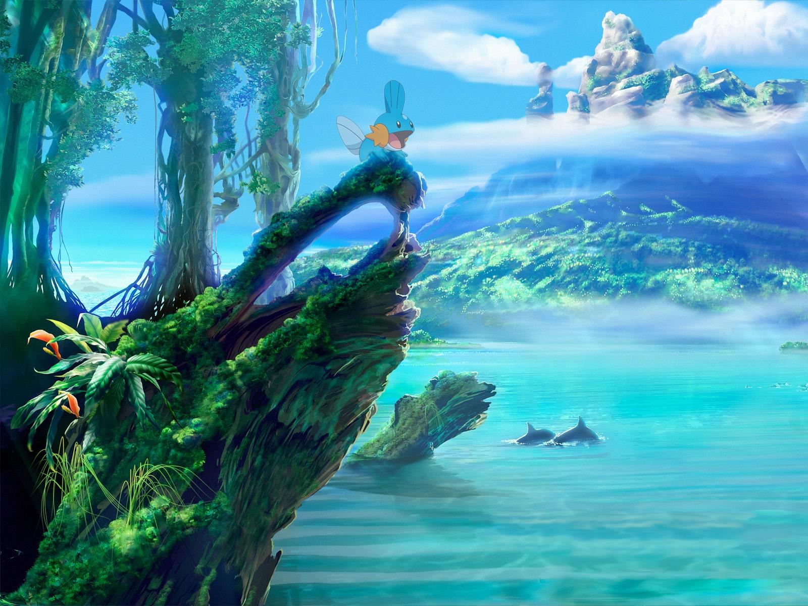 pokemon landscapes mudkip sea shorelines 1600x1200 wallpaper High 1600x1200