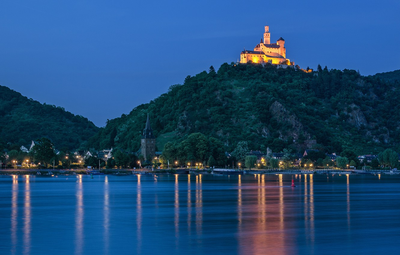Wallpaper river castle mountain Germany night city Germany 1332x850
