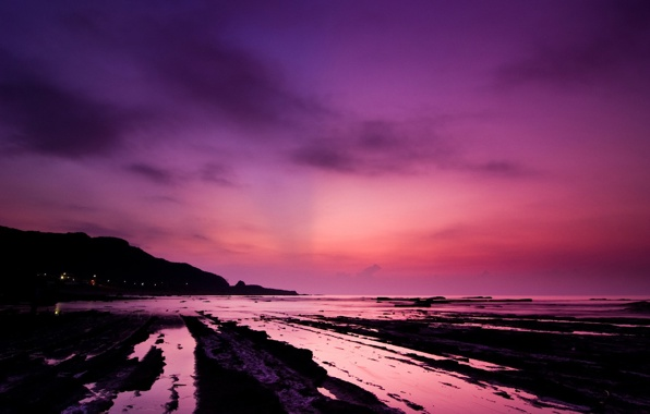 Wallpaper beach water sunset pink wallpapers landscapes   download 596x380