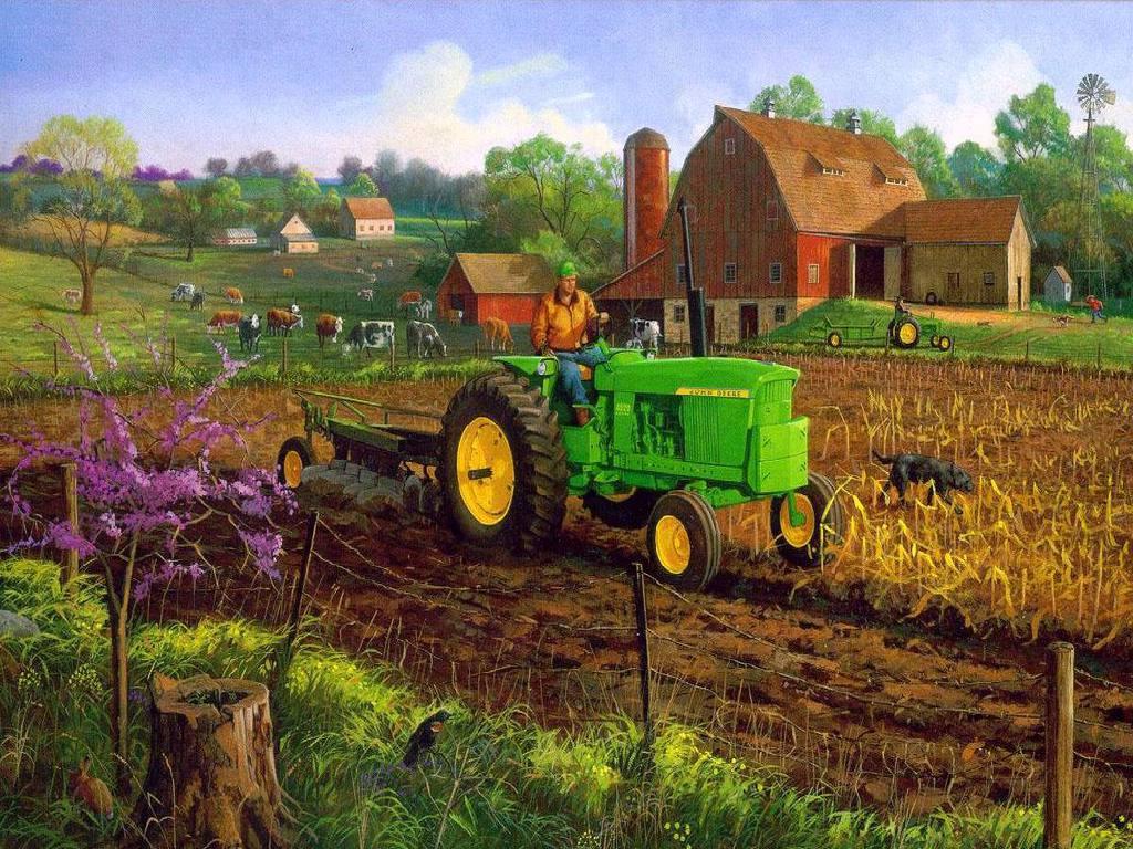 John Deere in a Farm Scene Im A Little Bit Country Pintere 1024x768