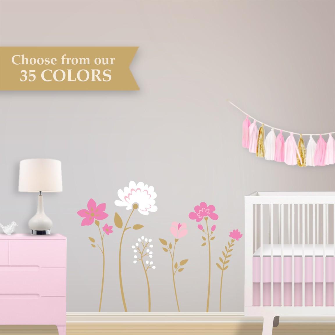 Choose Your Colors   Floral Removable Wallpaper   Girl Vintage Nursery 1152x1152