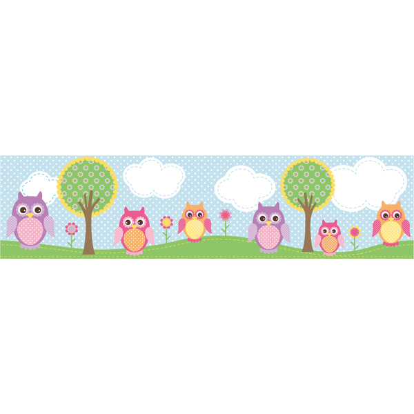 Light Blue Owl Border   Owls In The Hood   Brewster Wallpaper 600x600