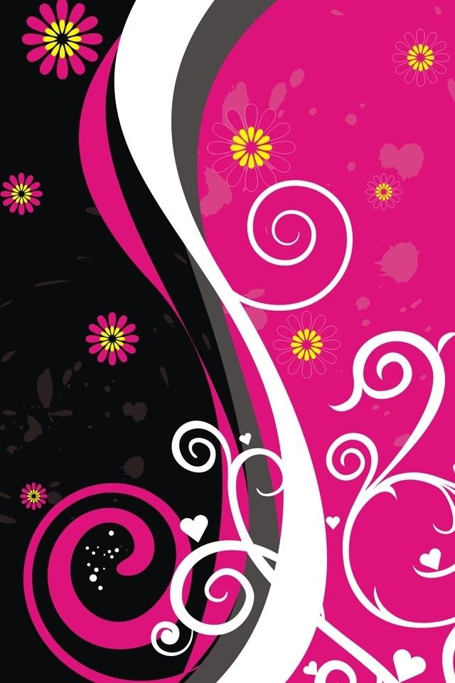 Pink Black Vector iPhone HD Wallpaper iPhone HD Wallpaper download 640x960