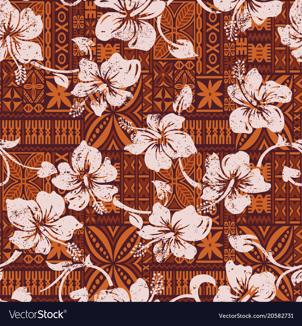 Tribal vintage hawaiian hibiscus flowers wallpaper 1000x1080