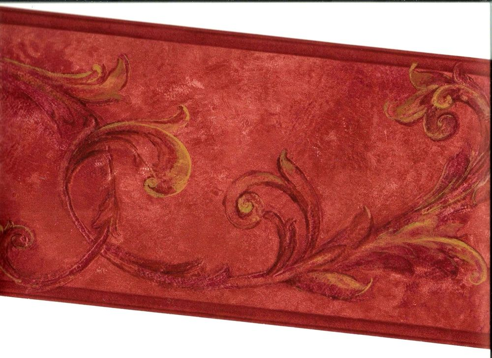 Burgundy Scroll with Gold Tones Wallpaper Border OS24604B eBay 1000x727