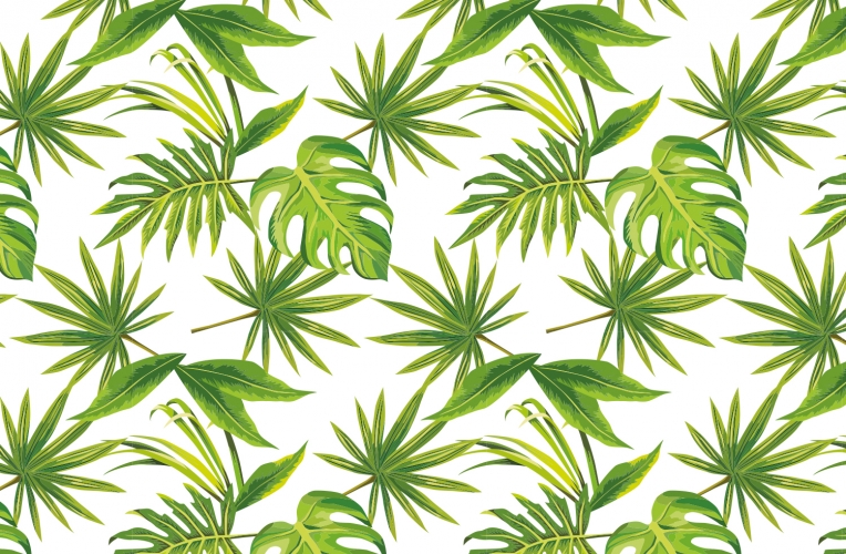 tropical leaves print wallpaper custom made to fit your wall size 764x500