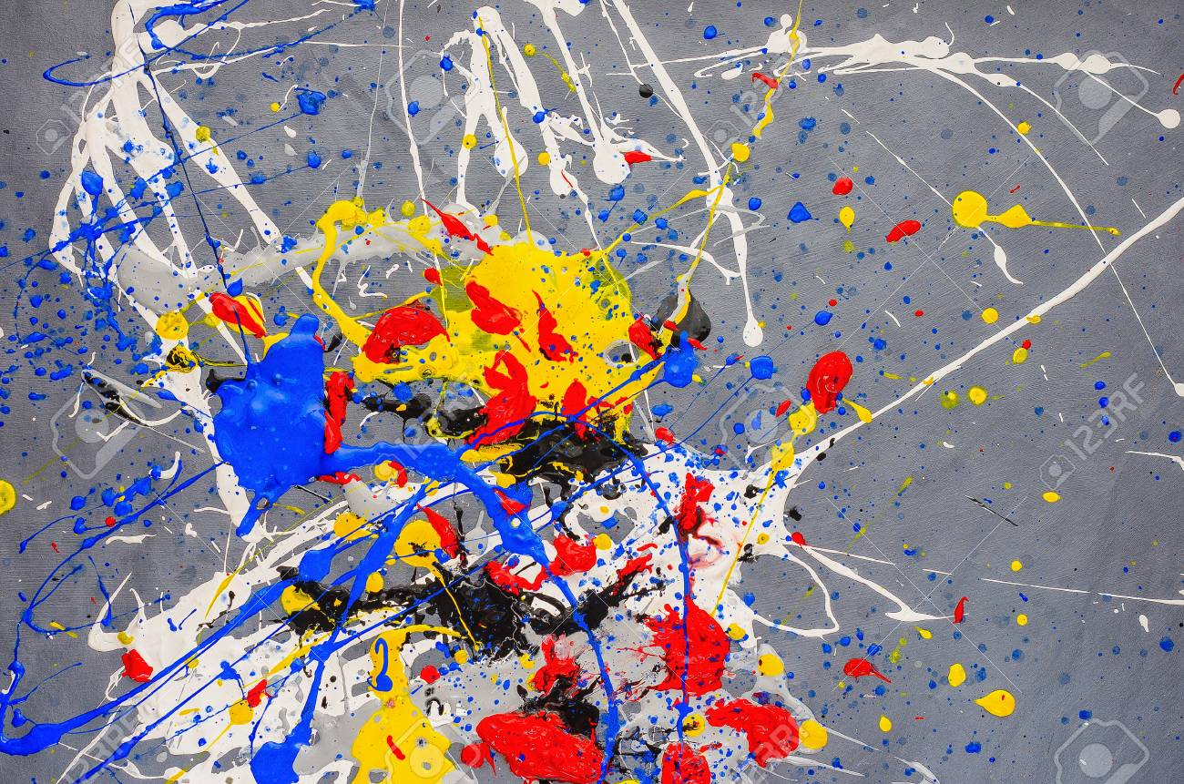 Multicolored Color Spill Blemish On The Gray Background Stock 1300x861