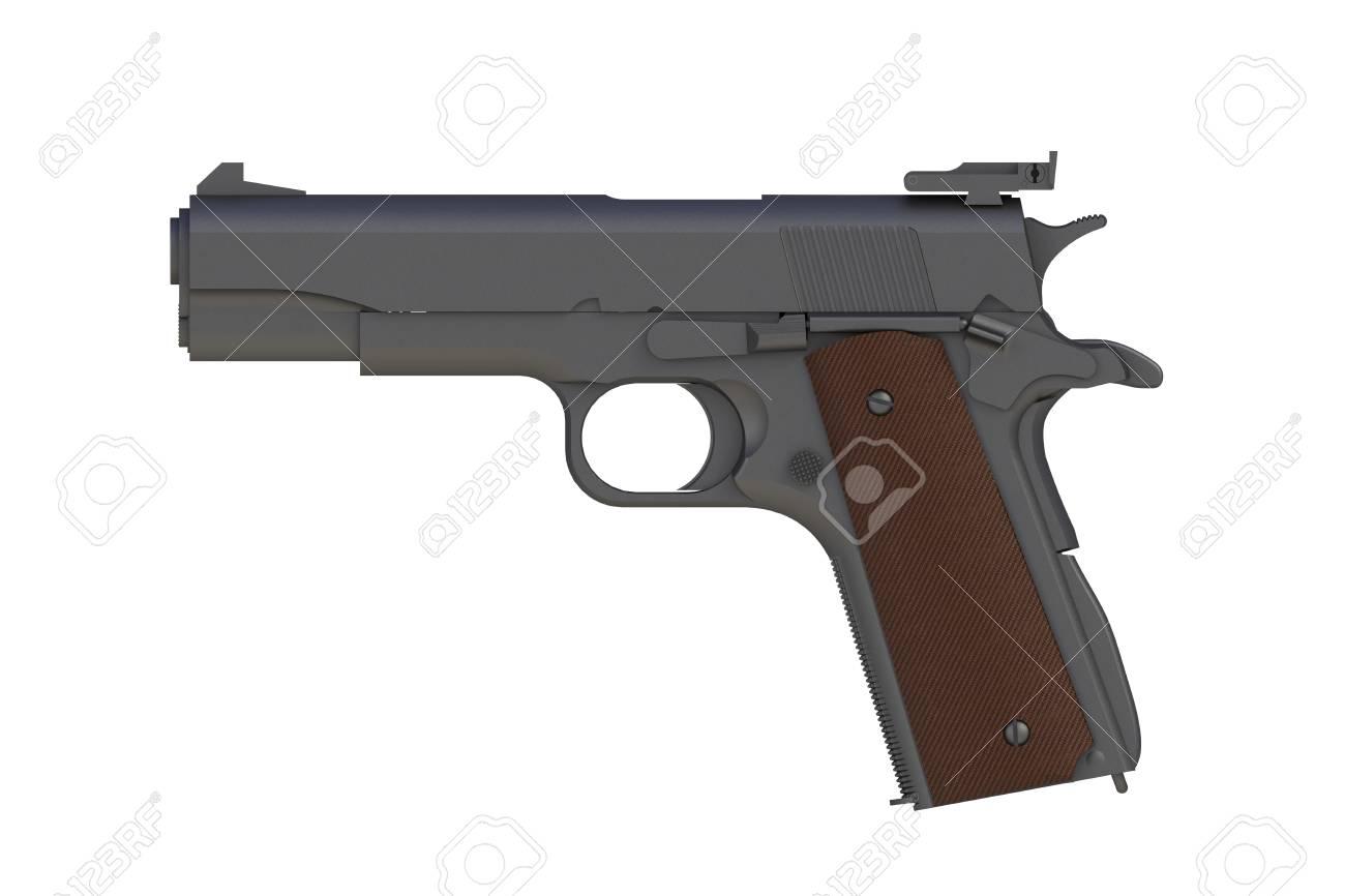 Beside View Of Matte Iron M1911 Semi automatic 45 Caliber Pistol 1300x866