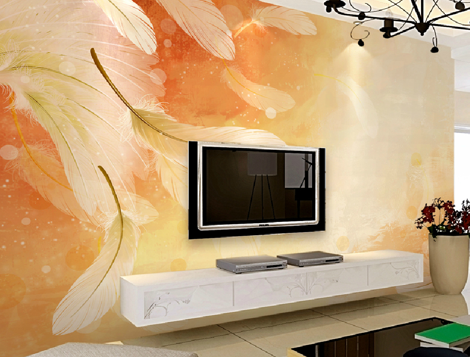 Living room TV wall design with feather wallpaper Download 3D House 959x727