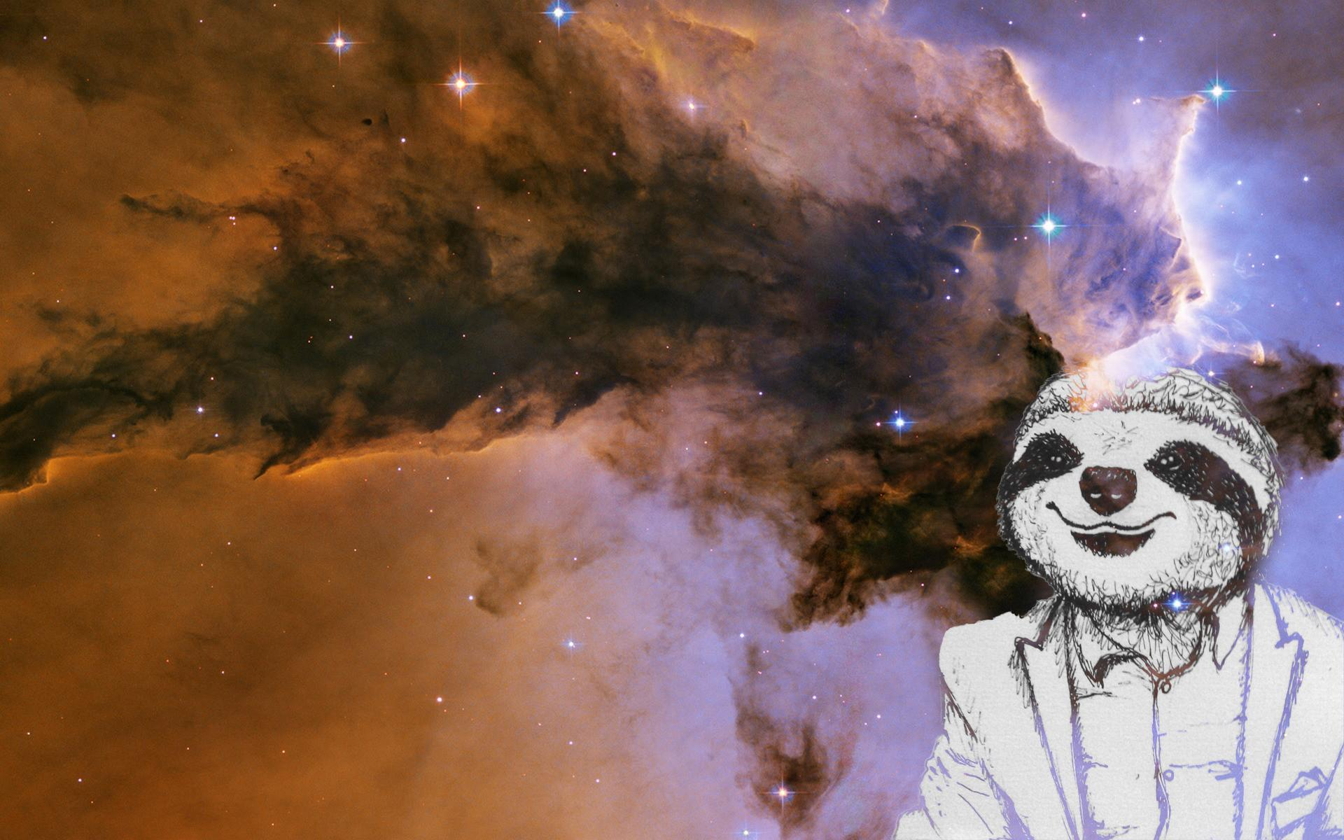 Sloth In Space I drew a sloth in a fancy suit 1920x1200