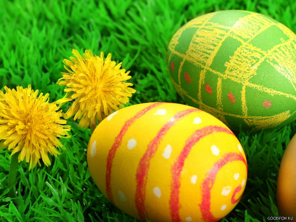 1024x768 Two flowers and three easter eggs desktop PC and Mac 1024x768