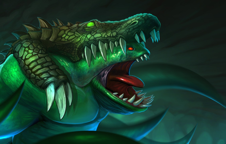 Wallpaper teeth crocodile art skin Dota 2 Leviathan 1332x850