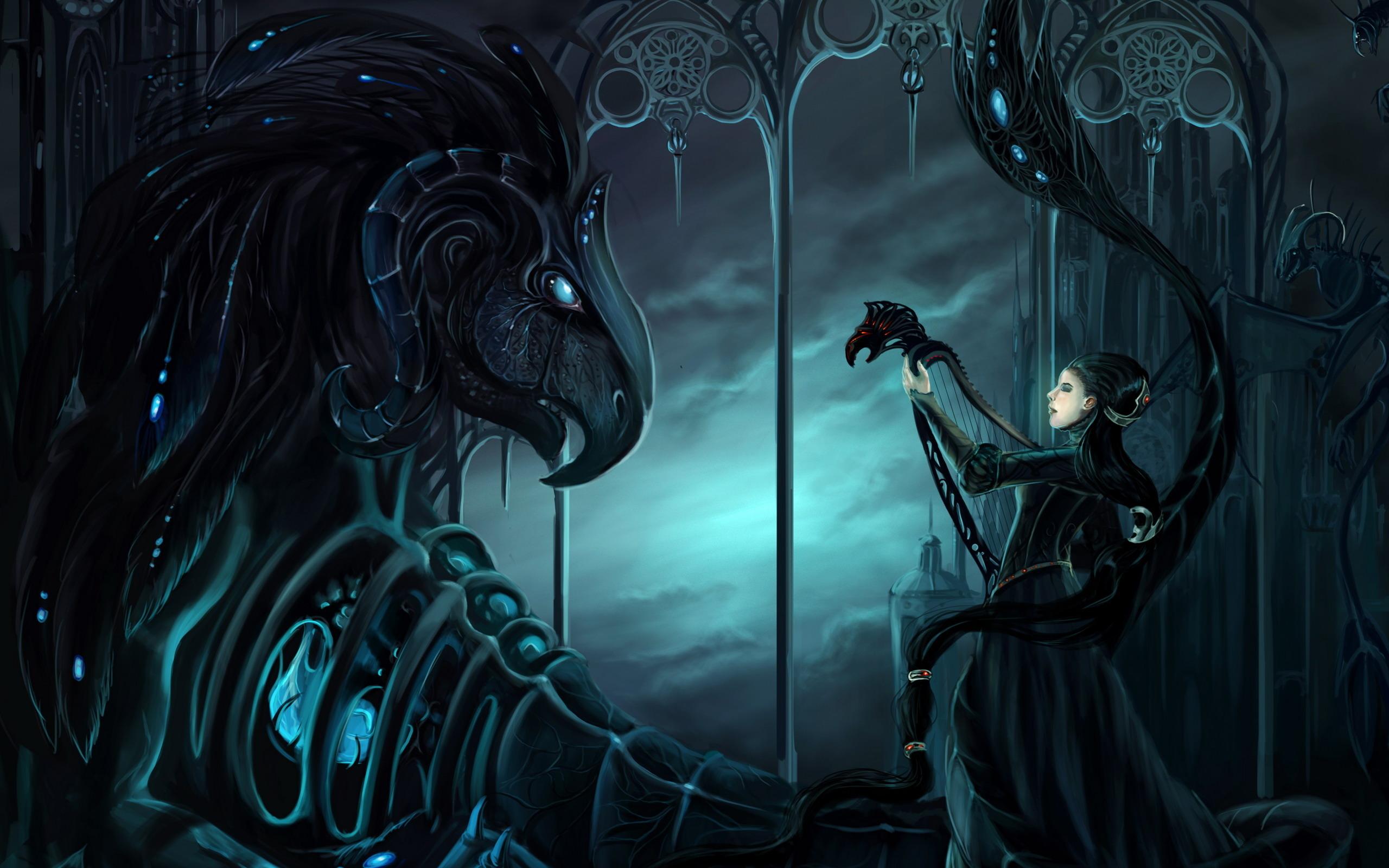 gothic fantasy art dark mech dragons women females mood wallpaper 2560x1600