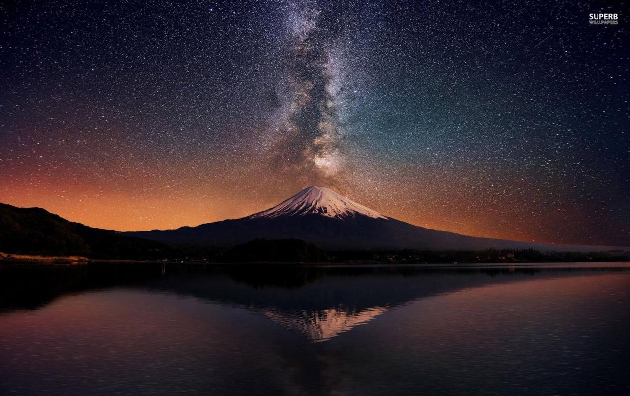 Mount Fuji Night Stars Sea wallpapers Mount Fuji Night Stars Sea 1280x804