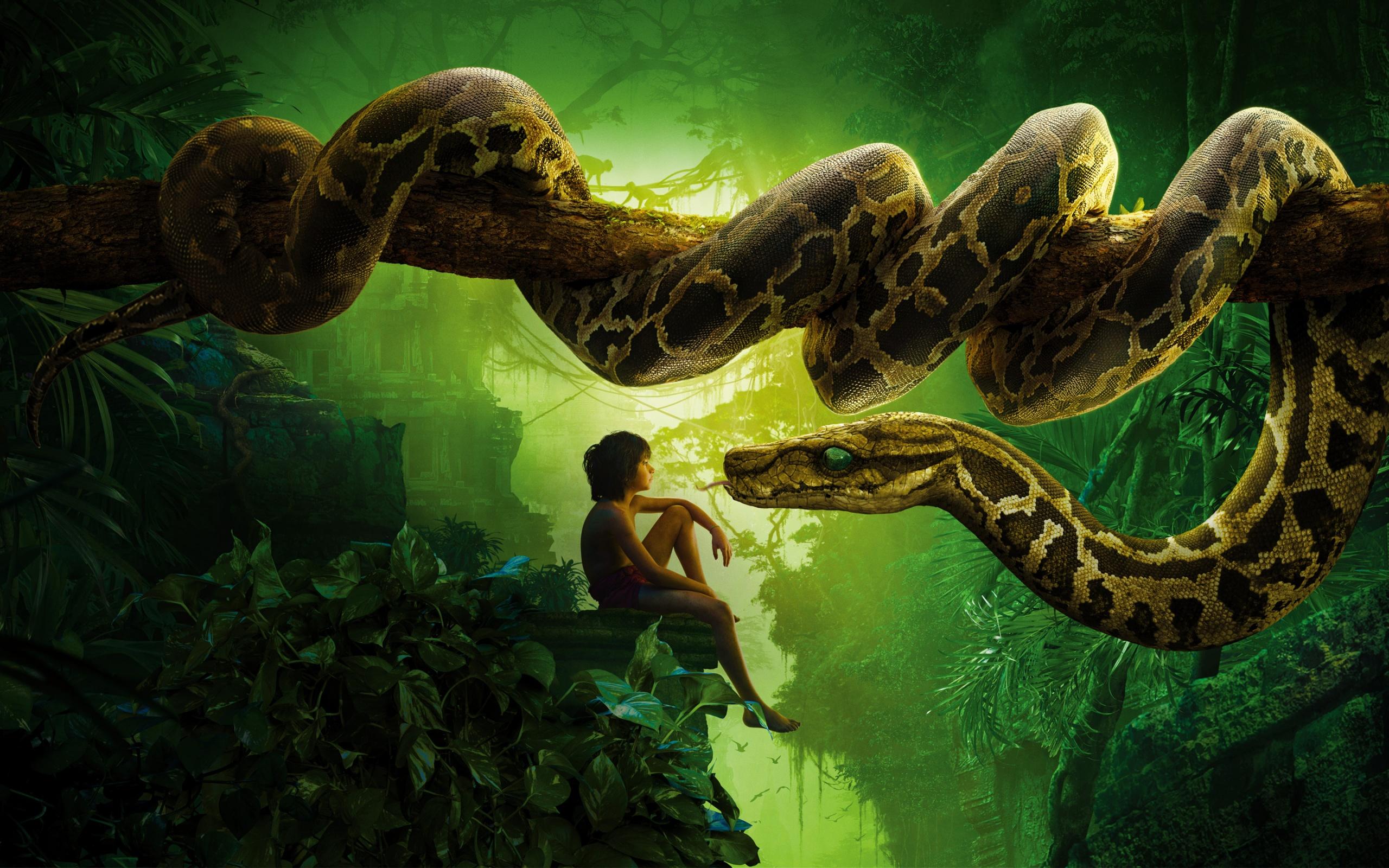 Jungle Book Snake Kaa Mowgli Wallpapers HD Wallpapers 2560x1600