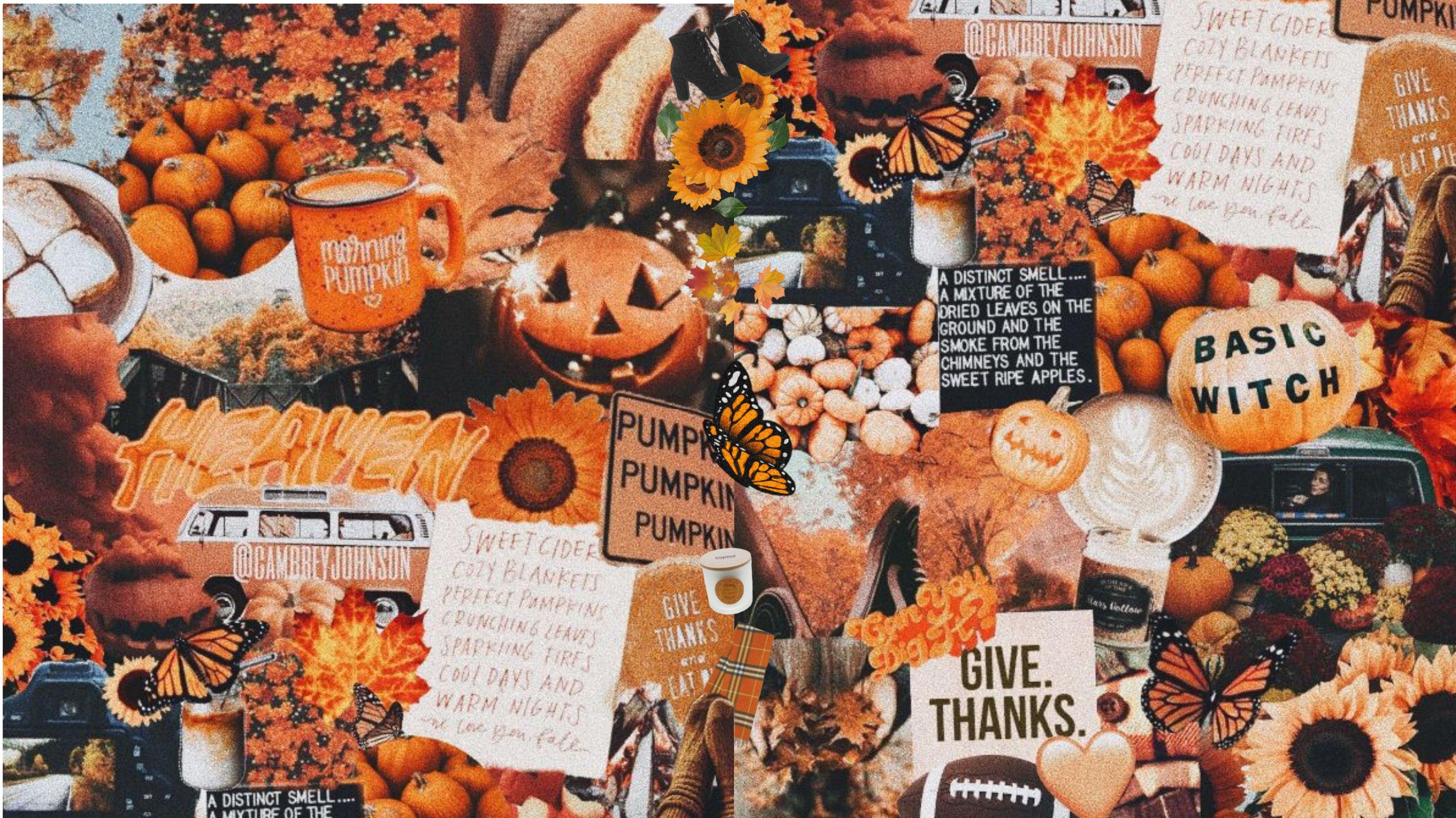 FallAutumn Aesthetic Collage DasktopMacBook WallpaperBackground 3255x1829