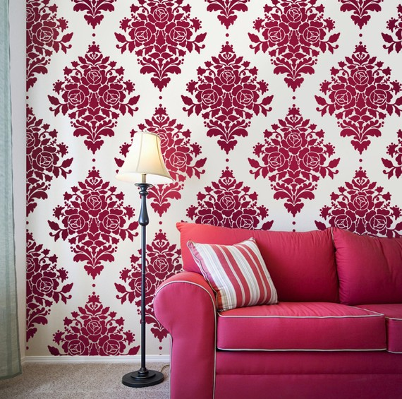 This pink and white damask wallpaper makes a bold statement Keep your 570x565