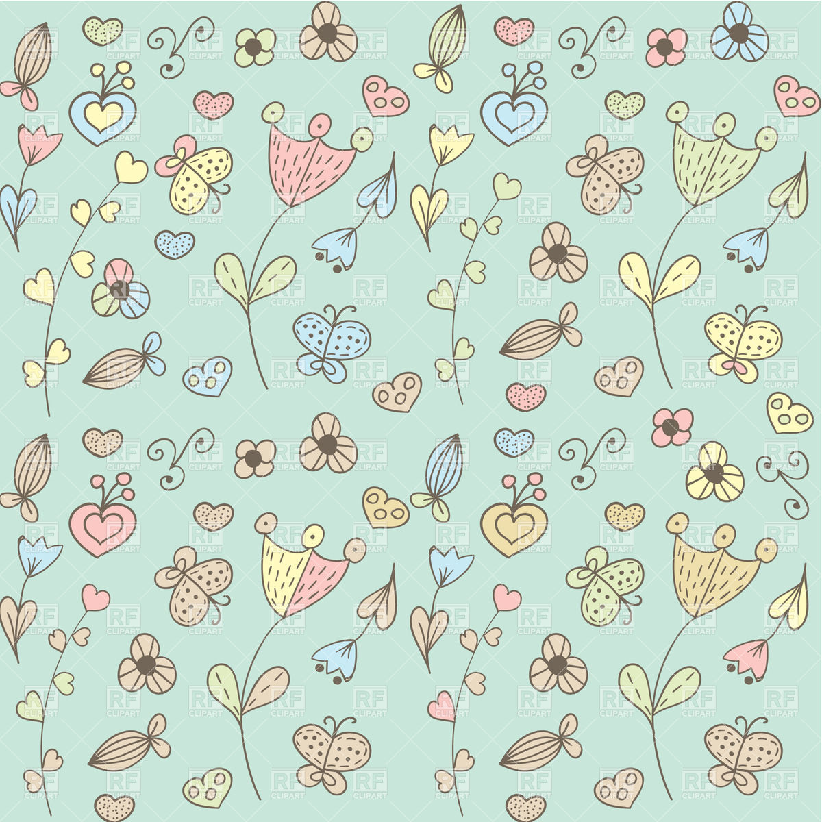background with stylized hearts and flowers 21160 download royalty 1200x1200