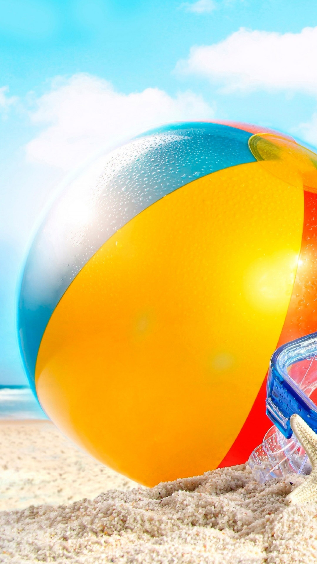 Free Download Beachball In Sand Summer Android Wallpaper