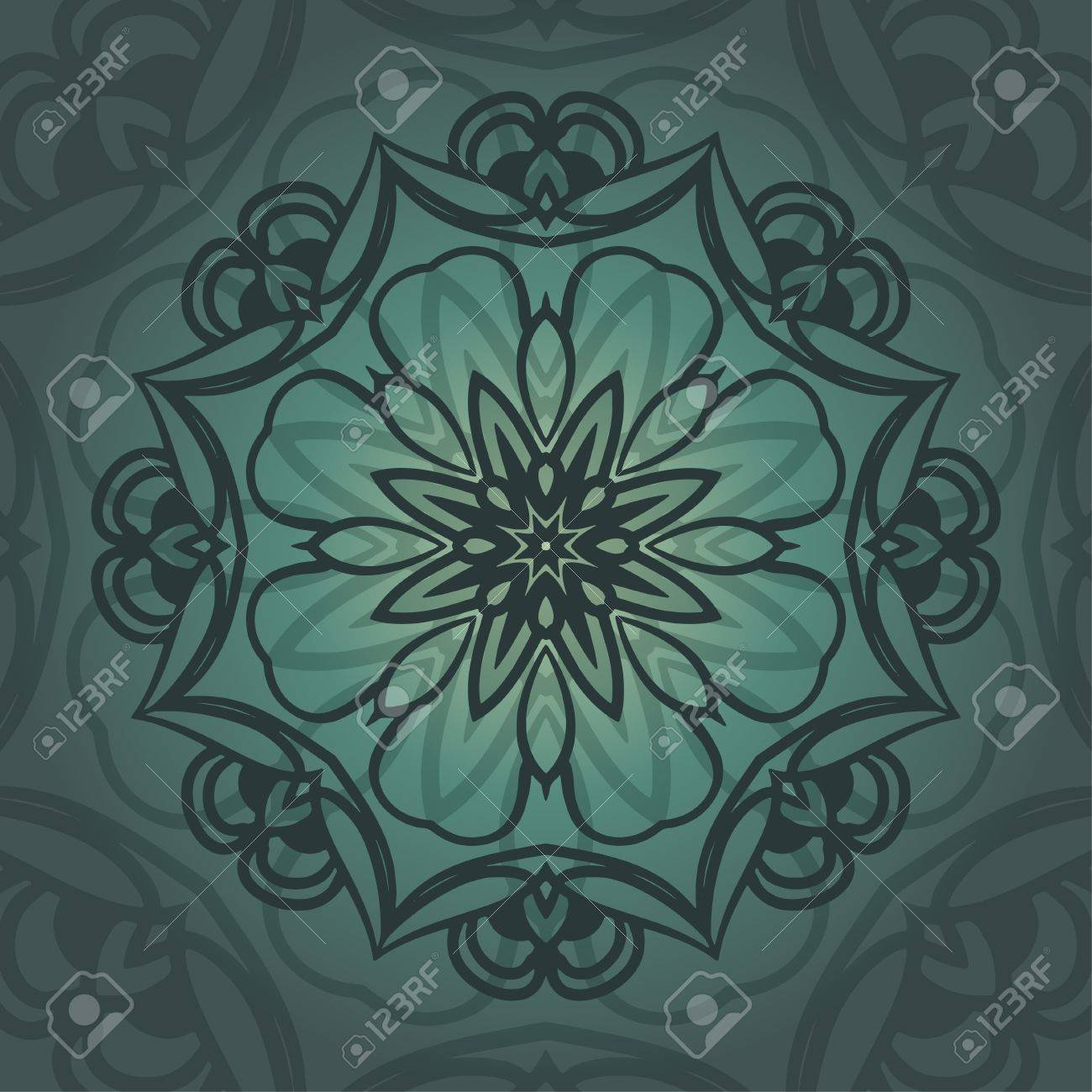 Mandala Card In Emerald Colors For Backgrounds Invitations 1300x1300