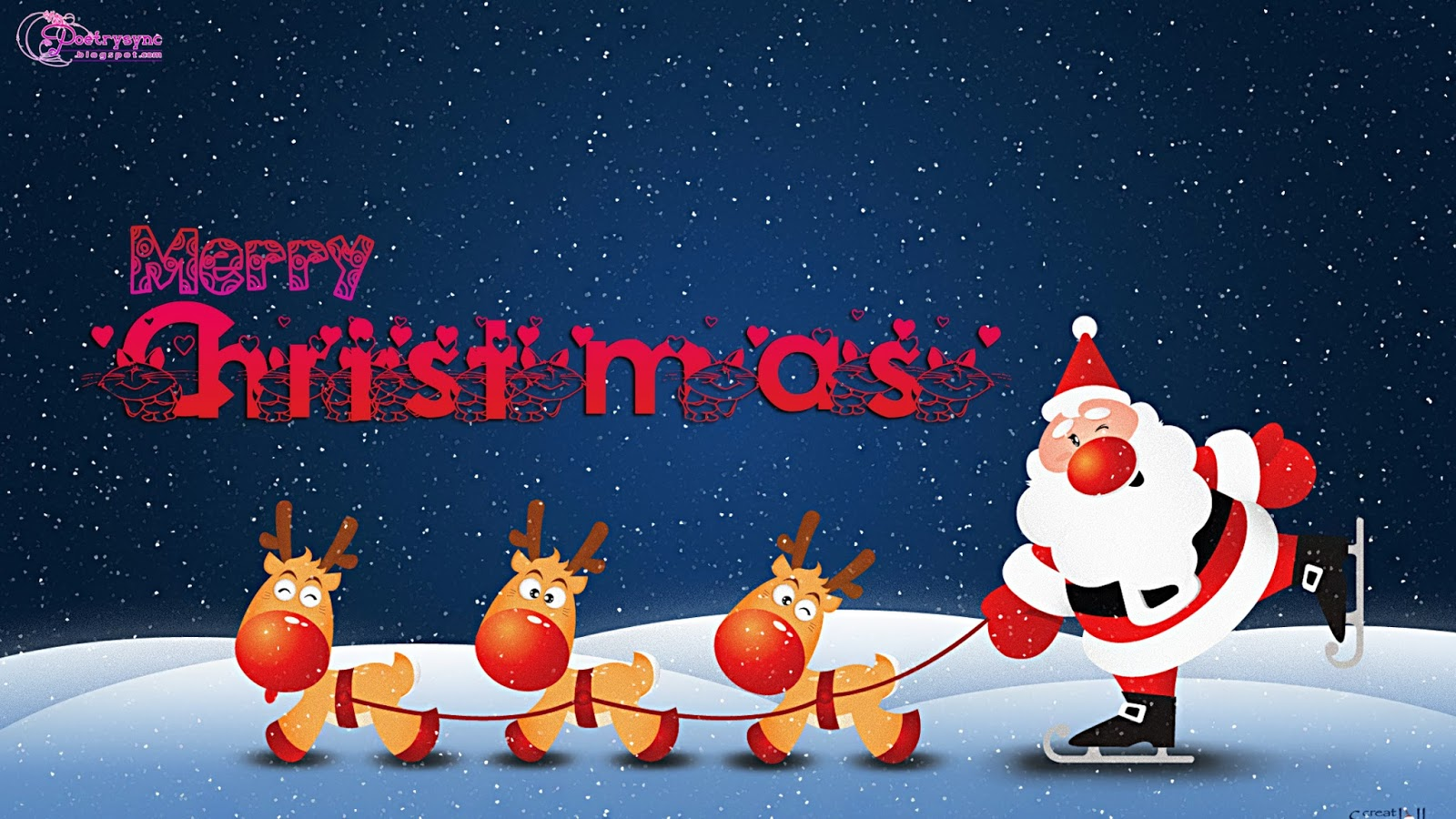 happy new year Christmas Wishes and Greetings Wallpapers with Santa 1600x900