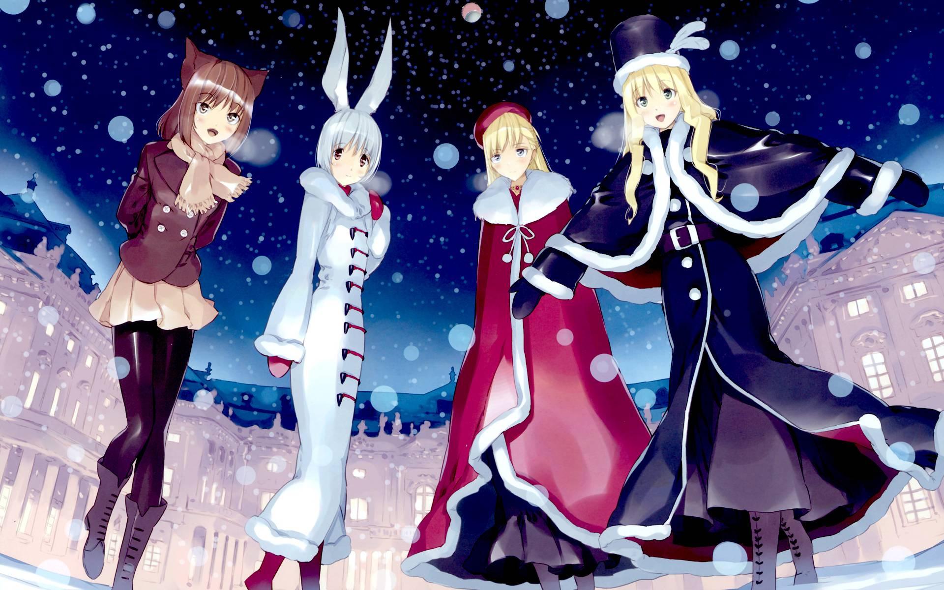 Anime Winter Girls Wallpaper 1920x1200