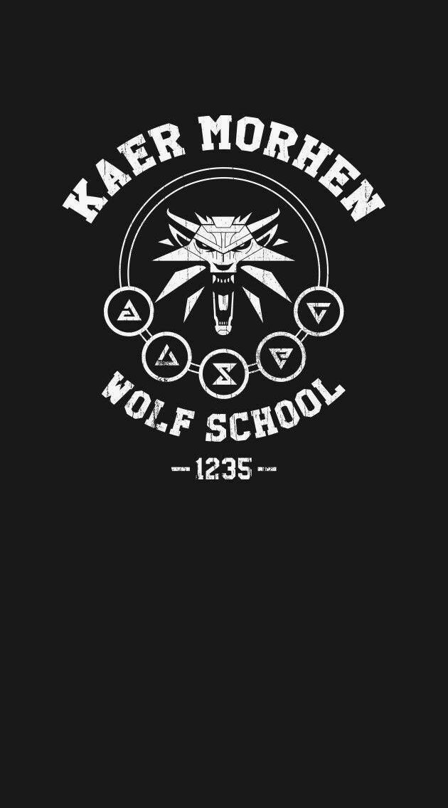Witcher logo wolfschool wallpaper Ehm in 2019 The witcher 630x1136