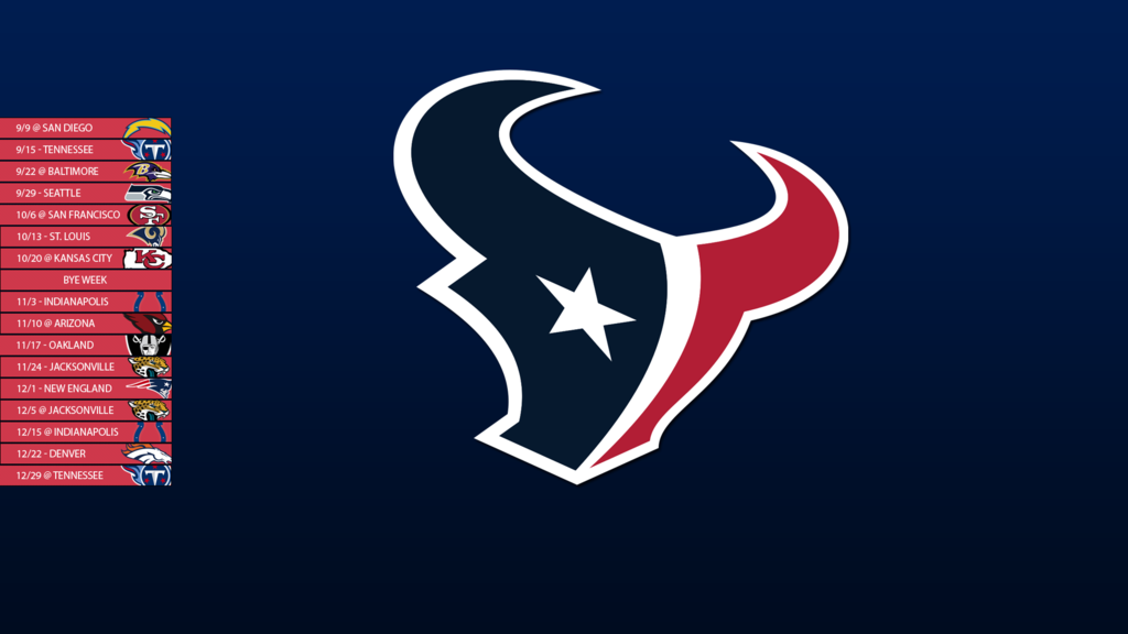 Houston Texans 2013 Schedule Wallpaper by SevenwithaT 1024x576