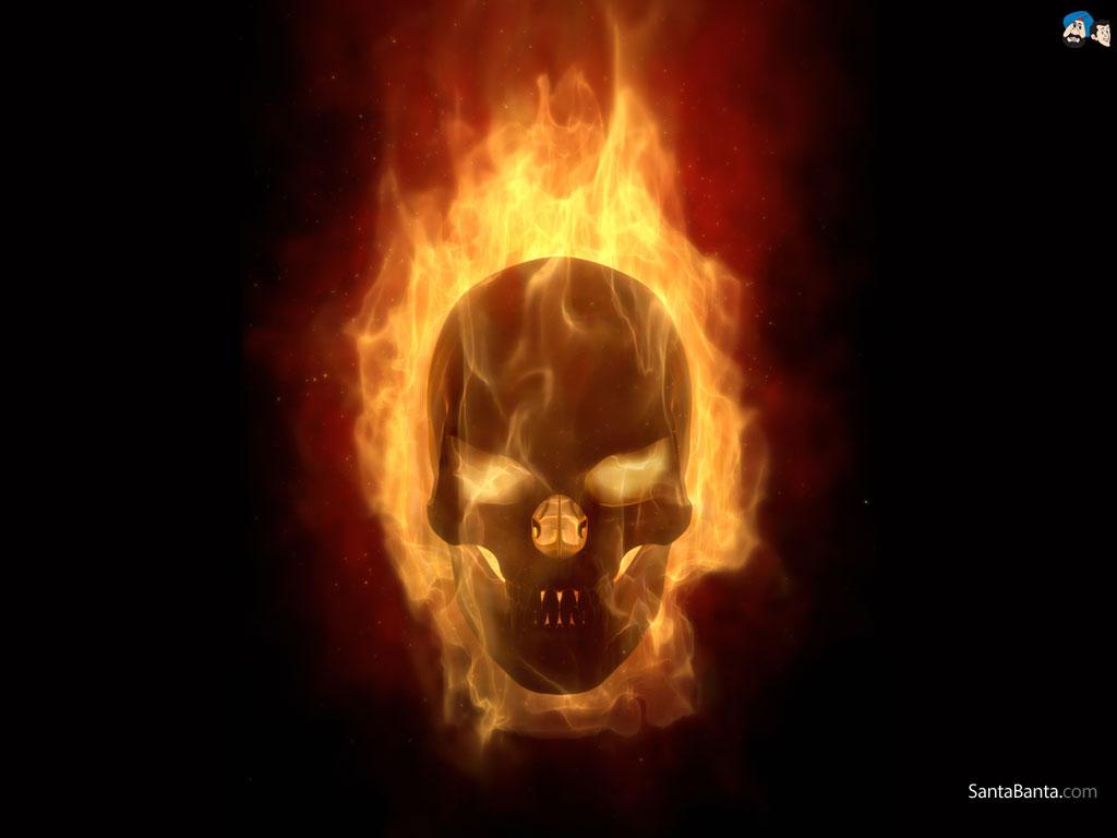 Skull On Fire Wallpaper Human skull on fire 1024x768