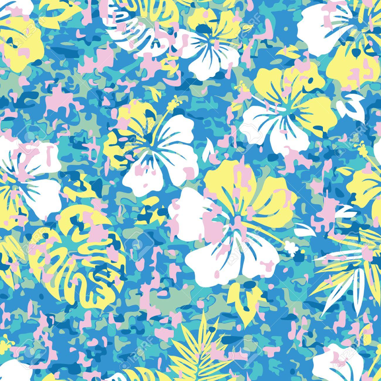 Aloha Hawaiian Shirt Camouflage Seamless Background Pattern 1300x1300