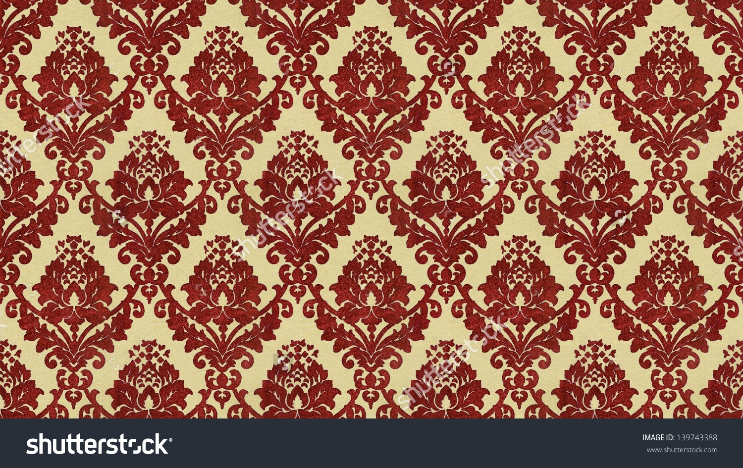 Traditional Victorian Style Flocked Wallpaper Pattern Stock Photo 1500x945