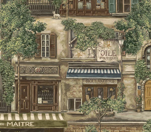 French Cafe Wallpaper   Sage 600x525