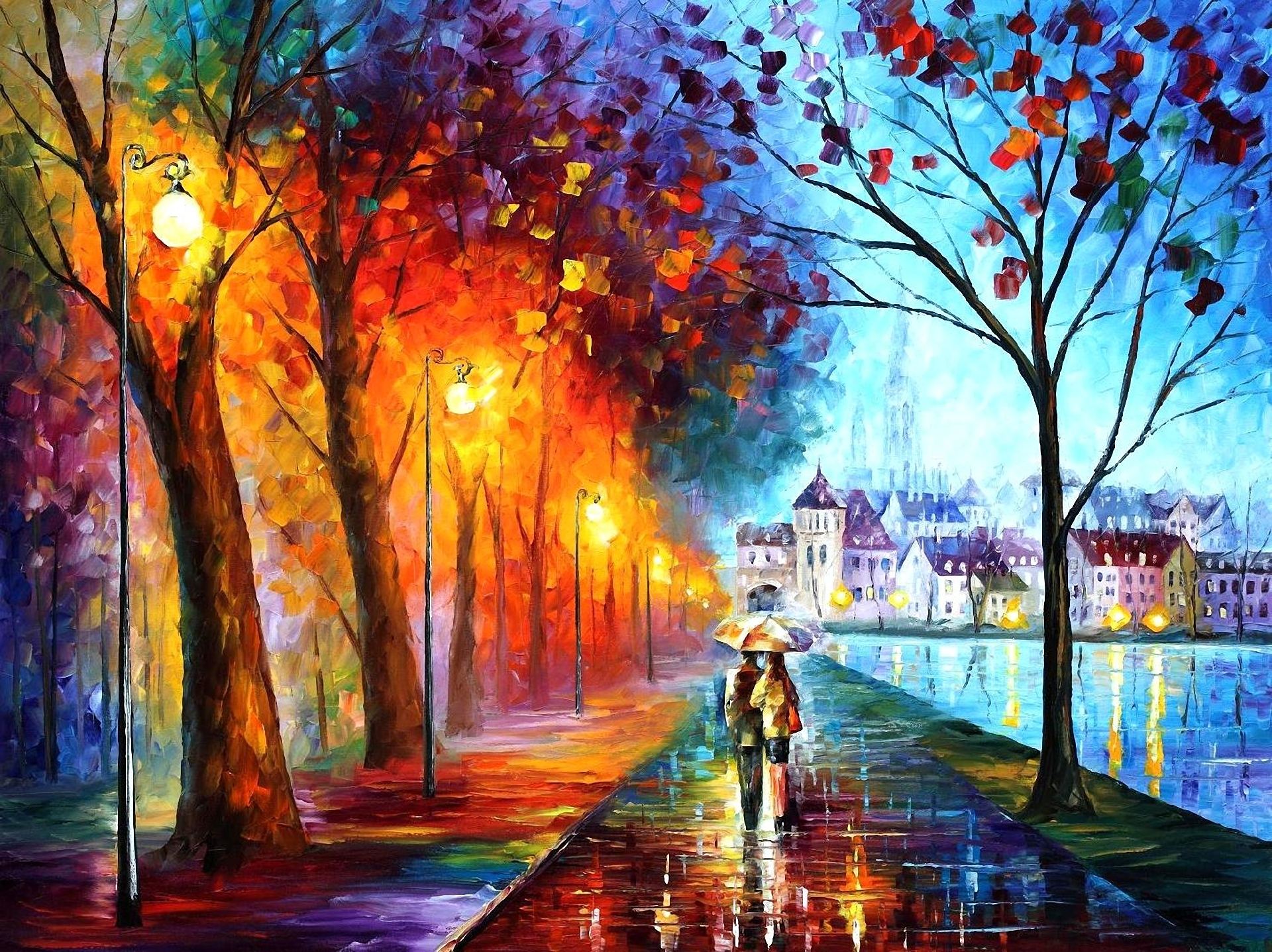 Art leonid afremov city couple couple umbrella umbrella lights 1920x1437
