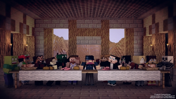 The Last Supper the last supper minecraft 1920x1080 wallpaper 600x337