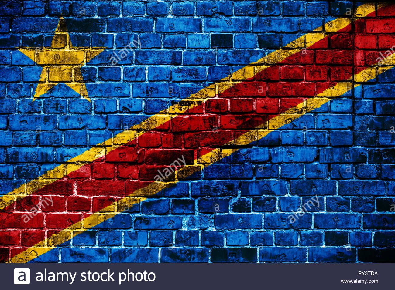 National flag of Democratic Republic of Congo on a brick 1300x956