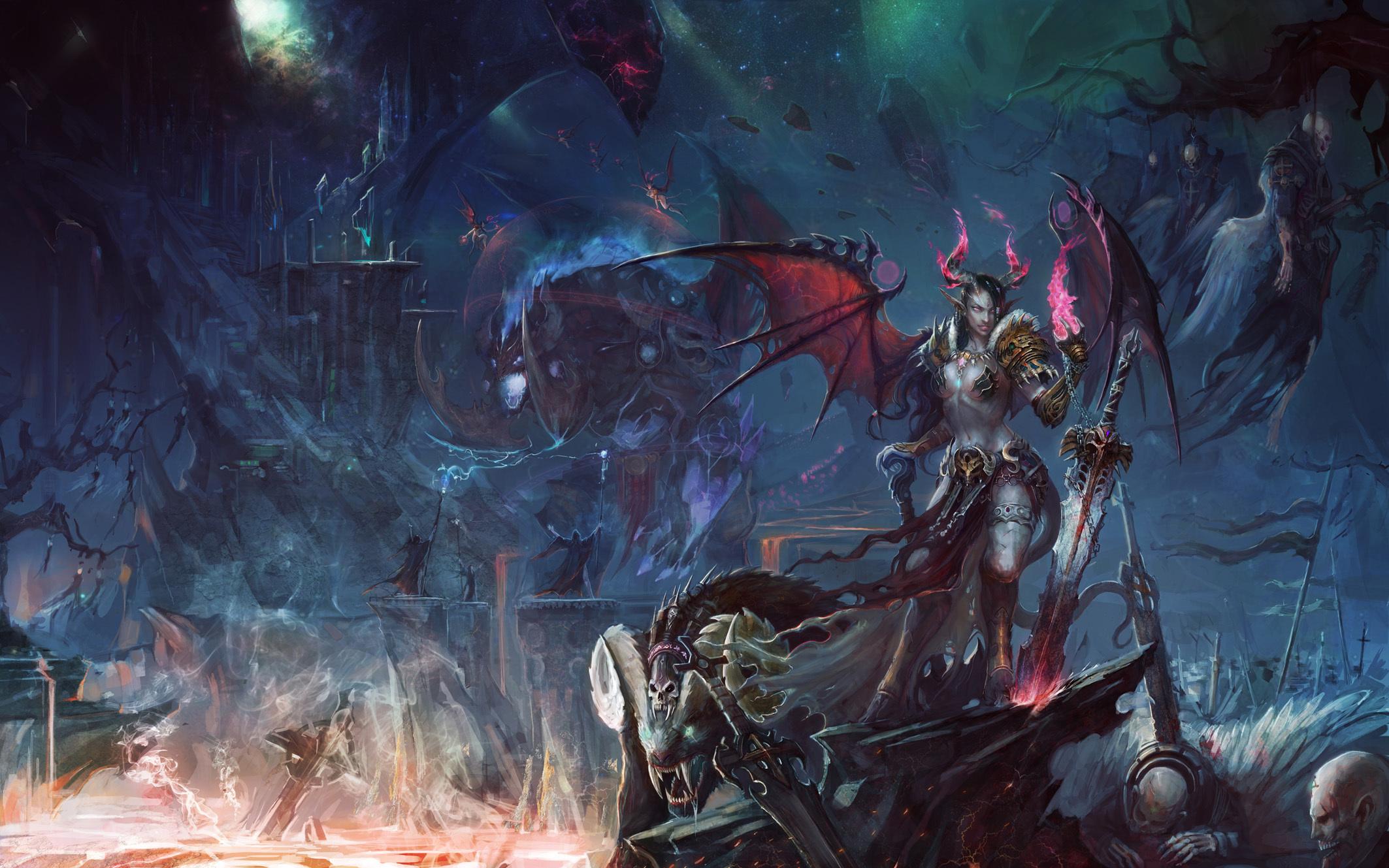 WoW Demons Warriors Swords Games Girls Fantasy warrior wallpaper 2126x1329