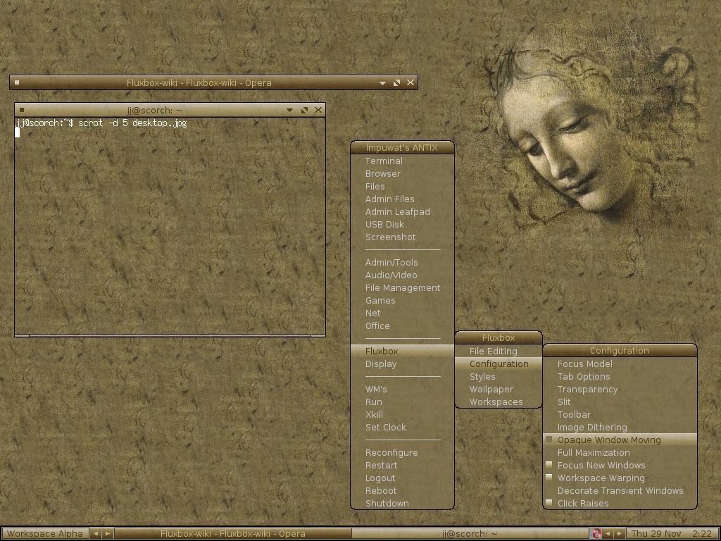 Da Vinci antiX Fluxbox Theme   sWindow Managers 1024x768