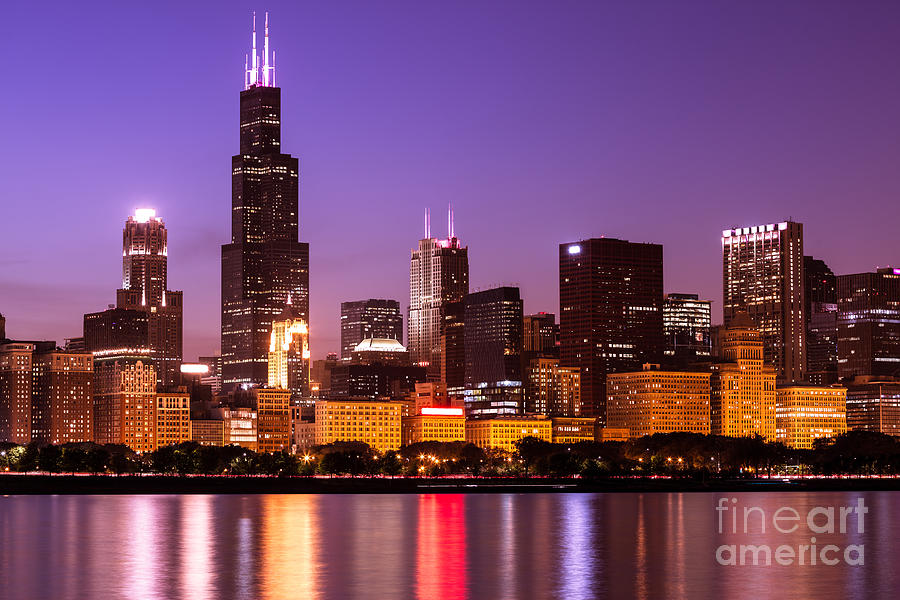 41 Chicago Skyline Wallpaper Night On Wallpapersafari
