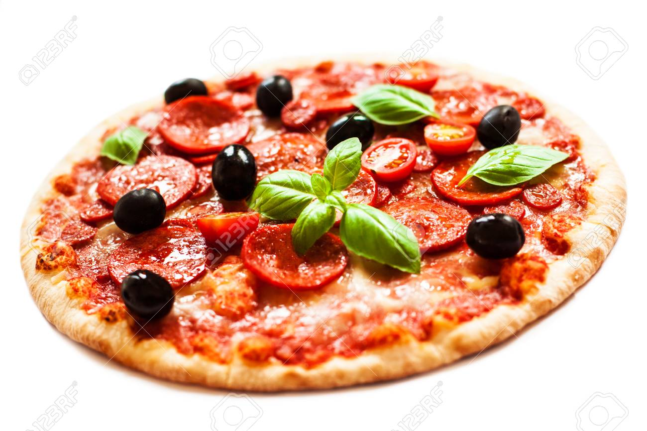 Pepperoni Pizza With Fresh Ingredients Isolated On White 1300x866