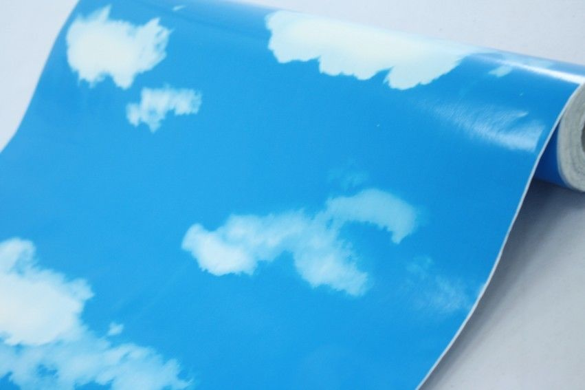 PVC Wallpaper White Clouds Blue Sky Prepasted Self adhesive Wallpaper 851x567